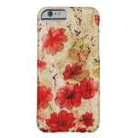 Grunge rojo floral funda de iPhone 6 barely there