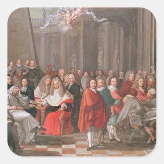 Grupo de Abbeville llevada caballeros distinguidos Pegatina Cuadrada