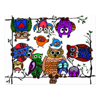 Grupo de búhos postal