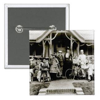 Grupo de la familia, c.1900 (foto de b/w) chapa cuadrada 5 cm
