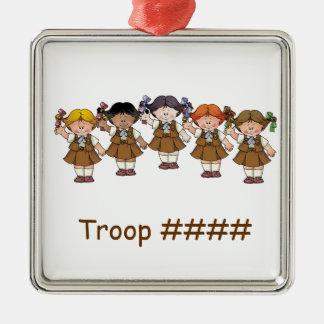 Grupo del brownie adorno navideño cuadrado de metal