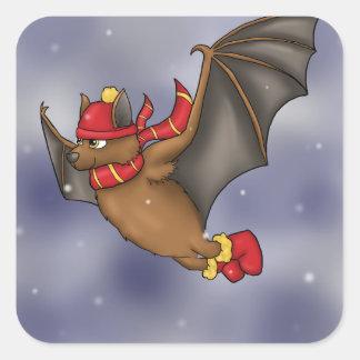 Gryffindor inspiró el palo del invierno pegatina cuadrada