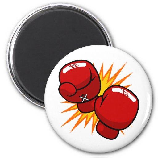 Guantes de boxeo del dibujo animado iman de Zazzle.