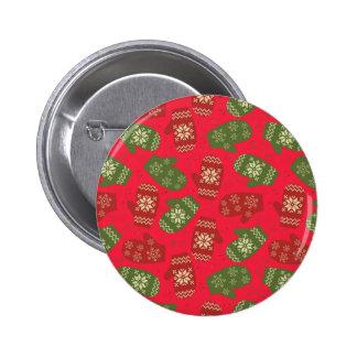 Guantes verdes rojos agradables del navidad en chapa redonda de 5 cm