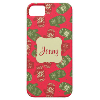 Guantes verdes rojos agradables del navidad en funda para iPhone SE/5/5s