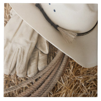 Guantes y cuerda del gorra de vaquero en haystack azulejo cuadrado grande