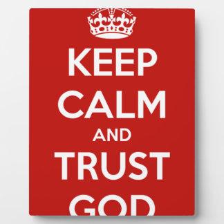 Guarde a dios de la calma y de la confianza placa expositora