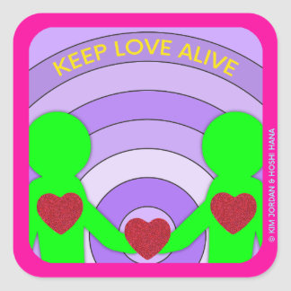 Pegatina Cuadrada Guarde al pegatina vivo del amor por Hoshi Hana y