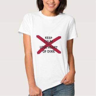 Guarde el amor tranquilo el corazón del dixie camiseta