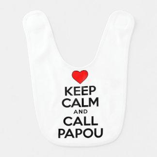 Guarde el babero tranquilo de Papou de la llamada