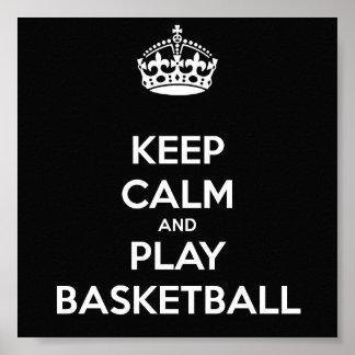 Guarde el baloncesto de la calma y del juego póster