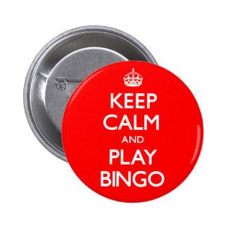 Guarde el bingo de la calma y del juego (continúe) chapa redonda de 5 cm
