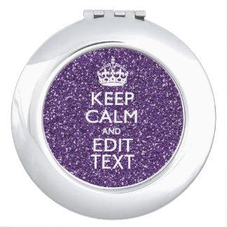 Guarde el color de malva tranquila y púrpura espejo de maquillaje