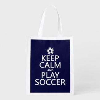 Guarde el fútbol de la calma y del juego bolsas de la compra
