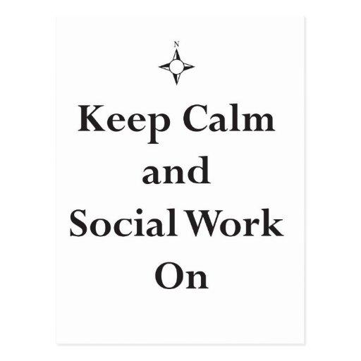GUARDE el trabajo tranquilo y social encendido Tarjeta Postal