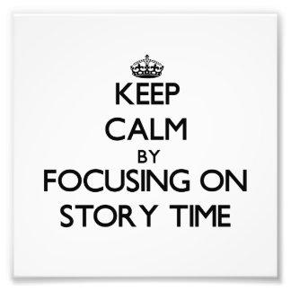 Guarde la calma centrándose el tiempo de la histor