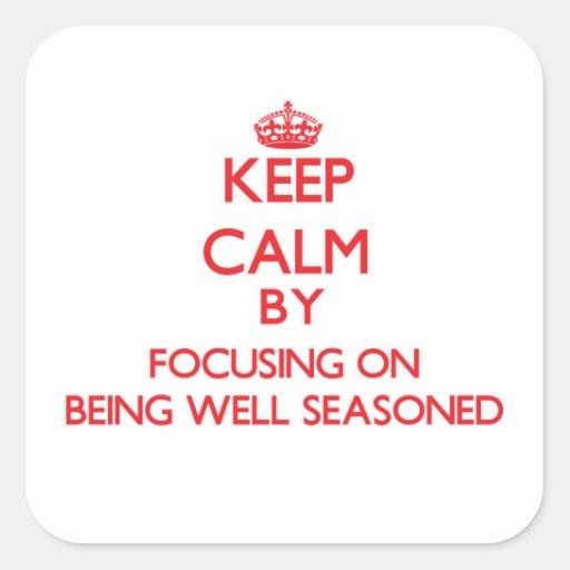 Guarde la calma centrándose en bien el aderezo calcomanía cuadradas personalizada