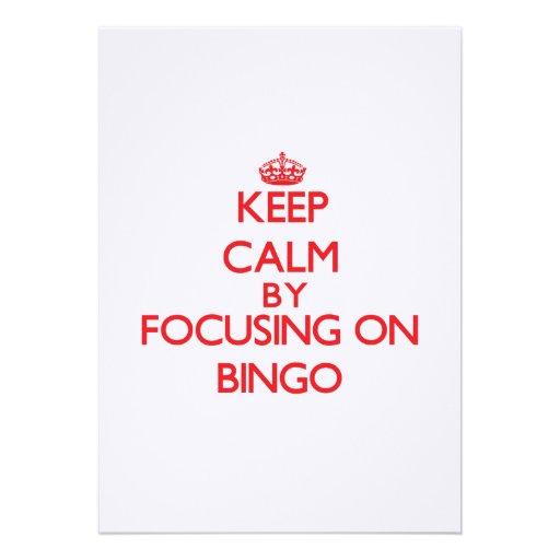 Guarde la calma centrándose en bingo invitación personalizada