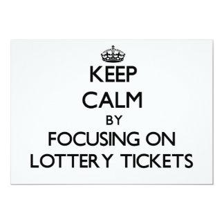 Guarde la calma centrándose en boletos de lotería anuncio personalizado