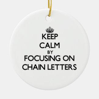 Guarde la calma centrándose en cartas en cadena ornamento para arbol de navidad