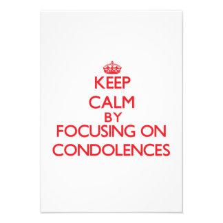 Guarde la calma centrándose en condolencias anuncio personalizado