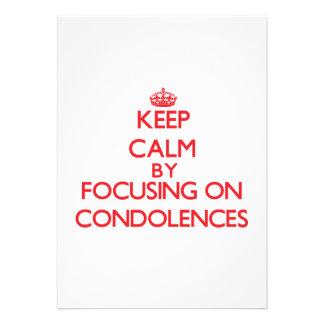 Guarde la calma centrándose en condolencias invitacion personalizada