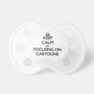 Guarde la calma centrándose en dibujos animados chupete