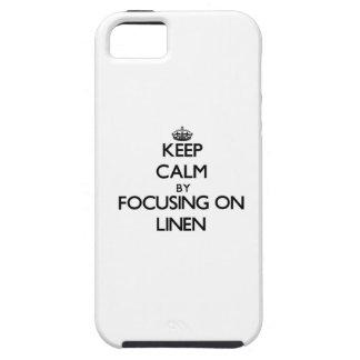 Guarde la calma centrándose en el lino iPhone 5 coberturas