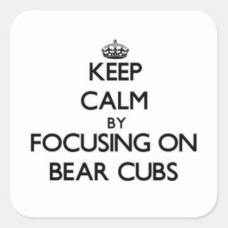 Guarde la calma centrándose en el oso Cubs Pegatina Cuadrada