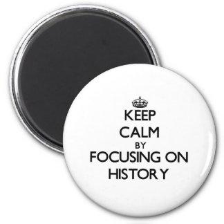 Guarde la calma centrándose en historia iman para frigorífico
