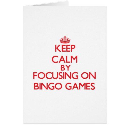 Guarde la calma centrándose en juegos del bingo tarjetón