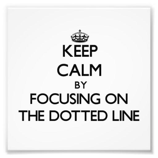 Guarde la calma centrándose en la línea de puntos cojinete