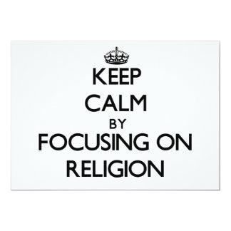 Guarde la calma centrándose en la religión invitación 12,7 x 17,8 cm