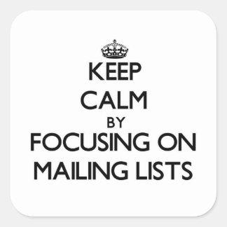 Guarde la calma centrándose en las listas de calcomanías cuadradass personalizadas
