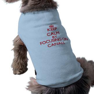 Guarde la calma centrándose en los canales camiseta sin mangas para perro