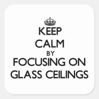 Guarde la calma centrándose en los techos de crist pegatina cuadradas personalizada