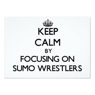 Guarde la calma centrándose en luchadores del sumo invitación 12,7 x 17,8 cm