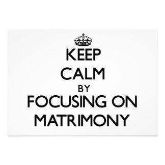 Guarde la calma centrándose en matrimonio