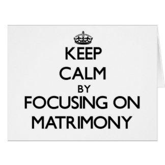 Guarde la calma centrándose en matrimonio felicitación