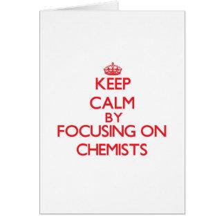Guarde la calma centrándose en químicos tarjeta de felicitación