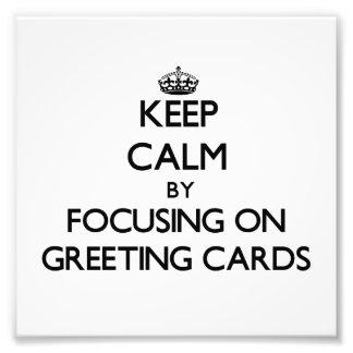 Guarde la calma centrándose en tarjetas de felicit arte fotografico
