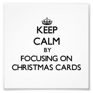 Guarde la calma centrándose en tarjetas de Navidad Fotografía
