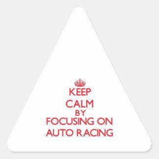 Guarde la calma centrándose encendido en competir  colcomanias trianguladas personalizadas