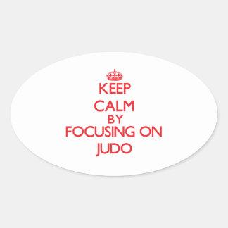 Guarde la calma centrándose encendido en judo pegatinas ovaladas