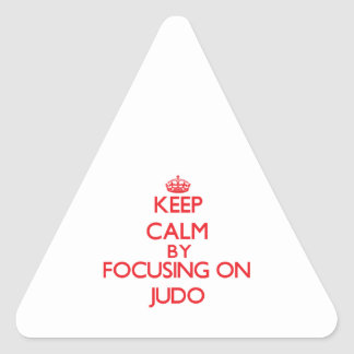 Guarde la calma centrándose encendido en judo calcomanía de trianguladas
