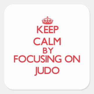 Guarde la calma centrándose encendido en judo pegatinas cuadradases