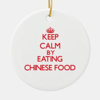 Guarde la calma comiendo la comida china adorno para reyes
