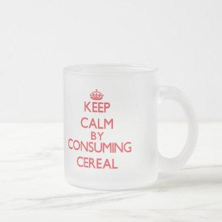 Guarde la calma consumiendo el cereal tazas de café