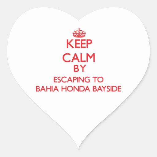 Guarde la calma escapándose a Bahía Honda Bayside Calcomania De Corazon Personalizadas