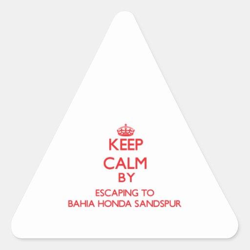 Guarde la calma escapándose a Bahía Honda Sandspur Pegatina Triangulo